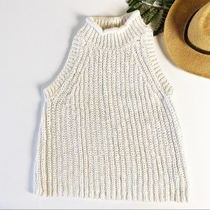 MOTH Anthropologie sweater cotton linen blend L